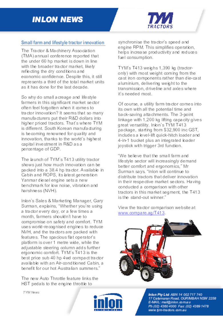 Small Farm and Lifestyle Tractor Innovation
