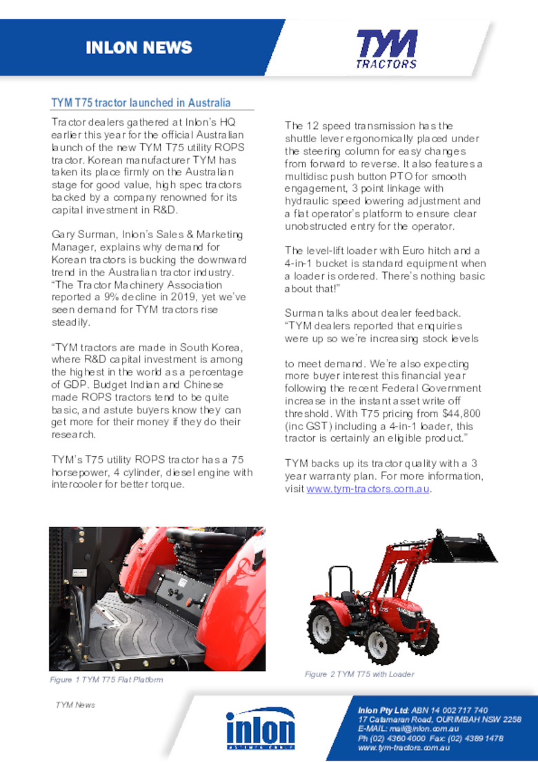 TYM T75 tractor launched in Australia